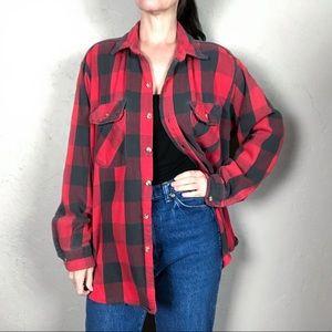 Vintage 1980s Oversized Flannel Shacket Shirt